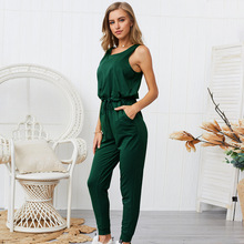 Summer Women Long Jumpsuit New Style Rompers Five-color Sleeveless Jumpsuits for 2019