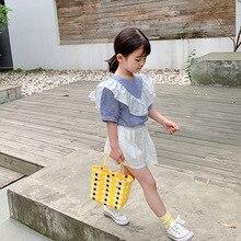 Рубашка в полоску для девочек; коллекция года; летняя одежда; стиль; Чистый хлопок; короткий рукав; рубашка для девочек; летняя детская одежда в Корейском стиле