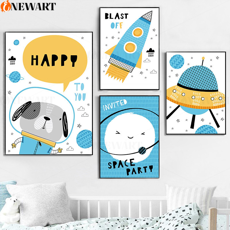 Children Poster Rocket UFO Heavenly Body Baby Nursery Wall Art Canvas Print Painting Decorative Picture Kid Bedroom Mural Decor(China)