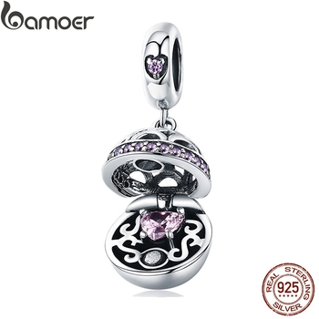 BAMOER Authentic 925 Sterling Silver Love Gift Box Dangle Ball Charm Pendant fit Women Charm Bracelet & Necklaces Jewelry SCC689 bamoer valentine day gift 925 sterling silver cheers for love couple beer pendant charm fit charm bracelet diy jewelry scc478