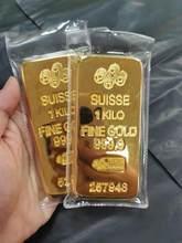 De oro Bar simulación 1000 g Casa de la ciudad de oro sólido de puro cobre chapado Oro Banco muestra pepita de oro modelo de oro