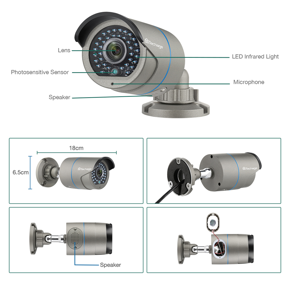 Techage H.265 2.0MP бяспека CCTV POE IP-камеры - Бяспека і абарона - Фота 2