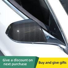 Para tesla model 3 2017 2018 2019 abs porta lateral do carro espelho retrovisor proteger capa quadro guarnição estilo fibra de carbono espelho traseiro capa