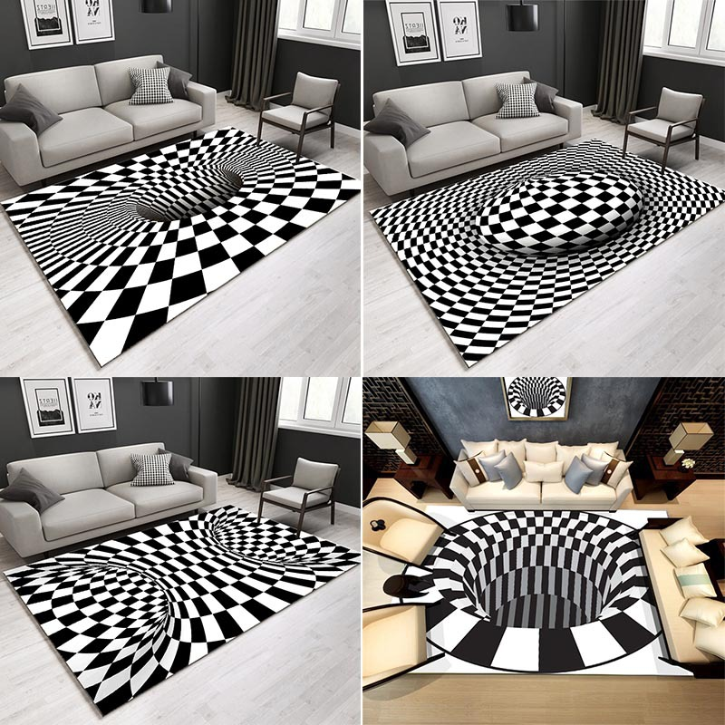 Nordic Alfombra 3D Optical Illusion Carpet Bedroom Office Floor Mat Abstract Geometric Area Rug Living Room Coffee Table Rugs|Carpet| - AliExpress