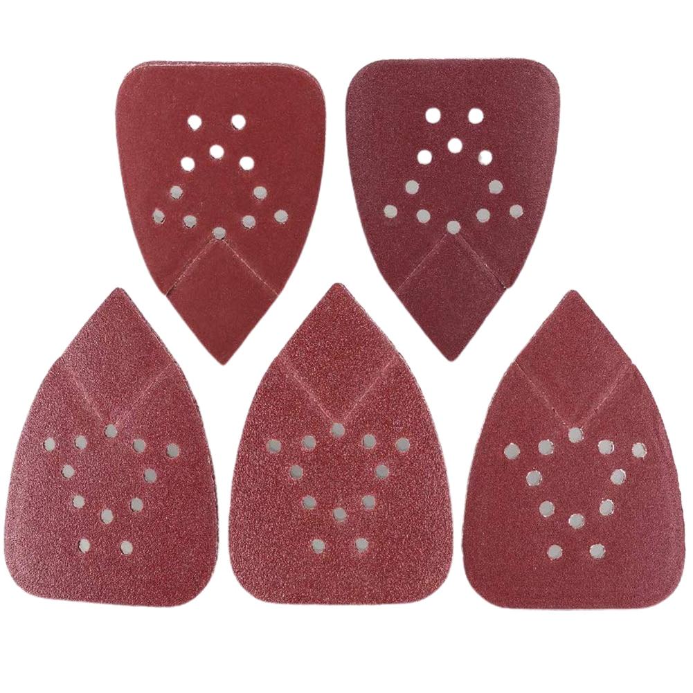 50PCS Sanding Pad Mouse Sander 60 80 120 150 220 Grit Sheets Triangular 12 Holes Grinding Aluminum Oxide Sandpaper Polishing