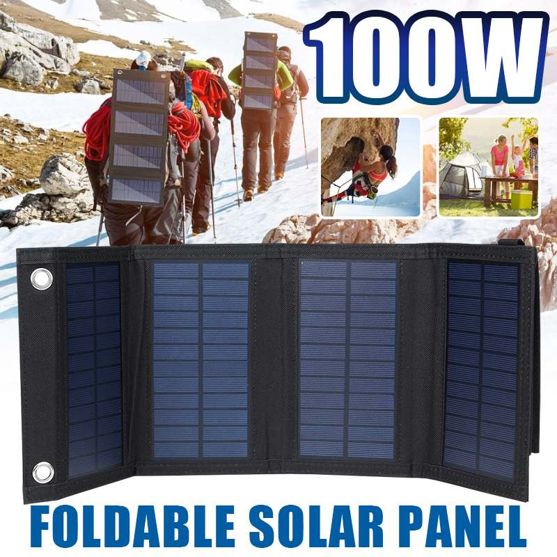 Portable 100W 5V Solar Panel Phone Charger USB Folding Solar Panels for Traval Outdoor Solar Battery Board for cellphone|Solar Cells| - AliExpress