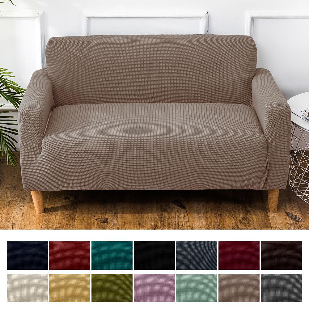 1/2/3/4seater Velvet Sofa Covers Knitted Corn Kernel Regular Sofa Cover Bedroom Solid Sectional Sofa Cover Elastic Couch Cover