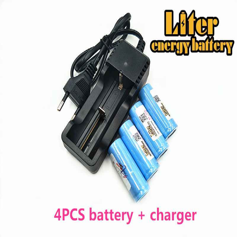 Original Liter energy <font><b>battery</b></font> <font><b>3.7V</b></font> 1600mAh <font><b>18500</b></font> <font><b>Battery</b></font> <font><b>li</b></font>-<font><b>ion</b></font> <font><b>battery</b></font> ICR18500 + Travel Charger Can be used to LED Flashlight image