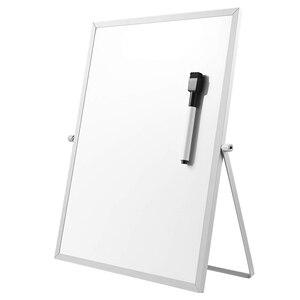 Магнитная доска для стирания с подставкой для настольных ПК, двухсторонняя белая доска, планер, напоминание для школы, офиса, 11 дюймов X 7 дюй...