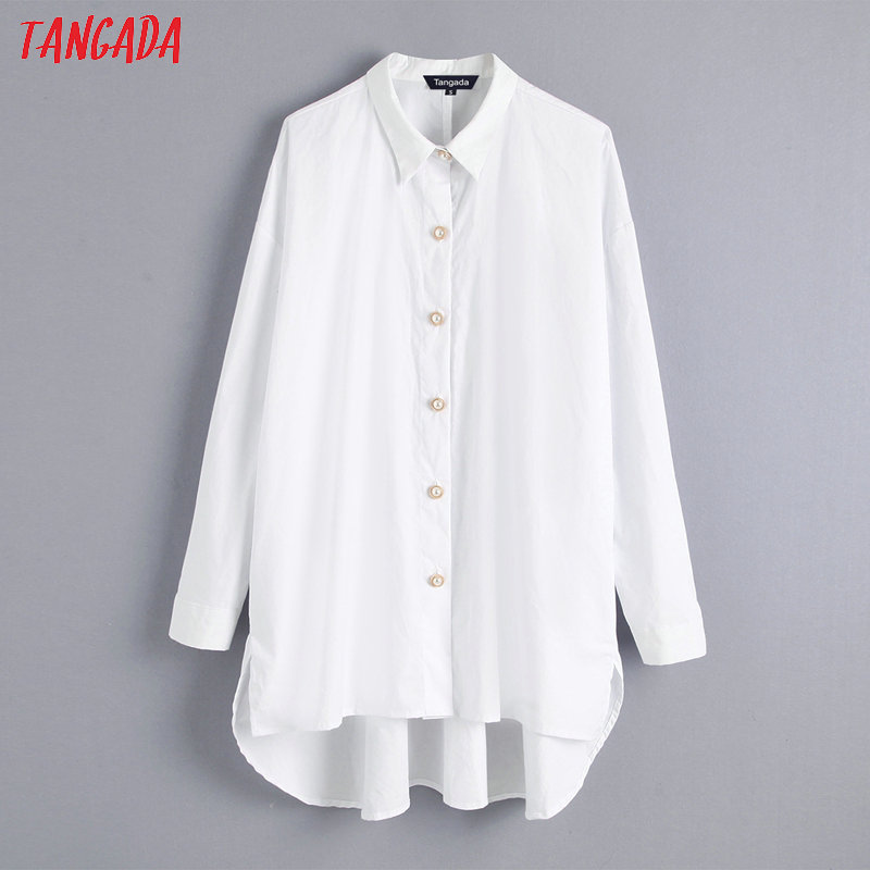 Tangada Women Beading Buttons White Blouse Oversized Long Sleeve Chic Vintage Casual Shirt Blusas Femininas BE110