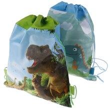 День рождения Мальчики сувениры мультфильм милый мотив динозавра украшают нетканые ткани Baby Shower Drawstring подарки сумки