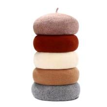 Lady spring Winter Berets Hat Painter style hat Women Wool Vintage Solid Color Caps Female Bonnet Warm Walking Cap