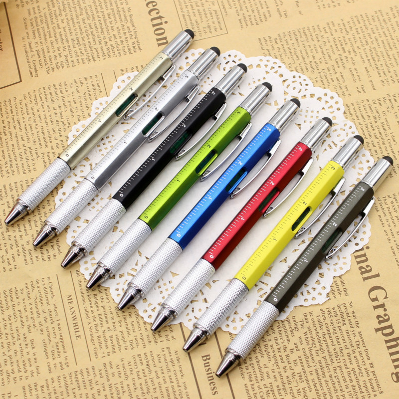Multi Function Ballpoint Pen Screwdriver Tool Caliper Level Scale Ball Pen Capacitor Advertising Touch Pen Office Accessories