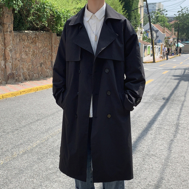 Men Double Breasted Casual Thin Trenchcoat Male Women Streetwear Vintage Fashion Loose Trench Coat Long Jacket Outerwear M-5XL