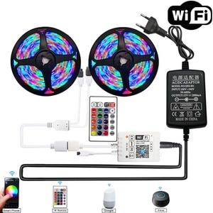 Смарт 5050 Светодиодный светильник 12 в WIFI Bluetooth 20 м 15 м 10 м 5 м гибкая лента 2835 лента для украшения комнаты Alexa RGB светодиодная лента