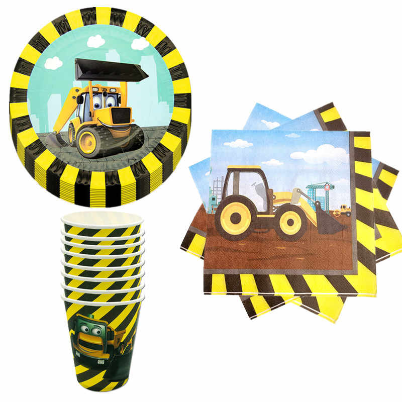 40Pcs Cartoon Tractor Graafmachine Party Wegwerp Servies Set Papier Plaat Cup Stro Kinderen Verjaardagsfeestje Baby Shower Decoratie