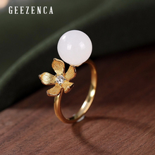 925 Sterling Silver Gold Plated Hetian White Jade Sakura Open Ring  Korea Trendy Original Designer Rings Fine Jewelry For Women