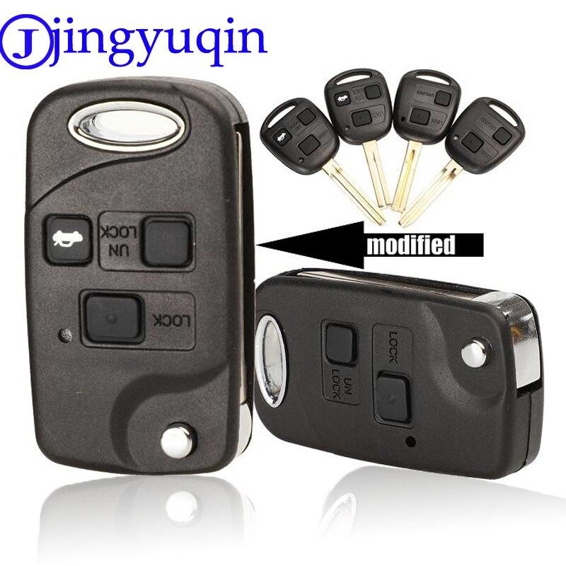 Чехол jingyuqin для автомобильного ключа-Раскладушки с дистанционным управлением, чехол для Toyota Yaris Carina Corolla Avensis, чехол для Toy43 Toy47 Toy48 с кнопками