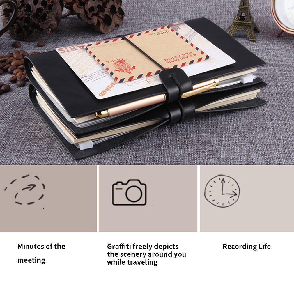 Retro Travel Notepad Small Portable Korean Creative Account Diary Notebook Blank Hand Book Notebook