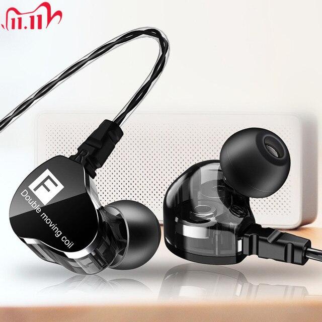 Fonge F4 filaire écouteur basse lourd double pilote stéréo HIFI écouteurs Sport musique écouteurs avec micro pour Smartphone Accessoris
