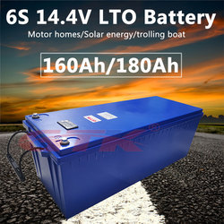 Motor home LTO battery 14.4V 160Ah 180Ah 200Ah Lithium titanate battery 12V fast charge with power BMS Handle+10A charger