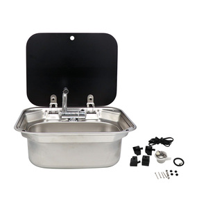 RV Caravan or Boat Stainless Steel Hand Wash Basin Sink with Tempered Glass Lid