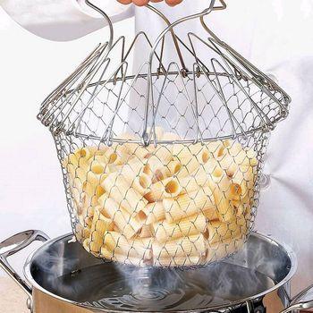 Panier à friture pliable, tamis en acier inoxydable, passoire à mailles, filtre à vapeur pour le rinçage, outils de cuisson, accessoires de cuisine 1