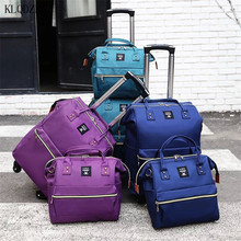 KLQDZMS  Man's Travel Wheeled Trolley  With Cosmetic  Bags Waterproof Nylon Fashionable Large Capacity Spinner Rolling Luggage
