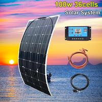 Xinpuguang flexible solar panel system complete home kit 100w 200w 300w 12v battery charger 5v usb for car boat 1000w caravan