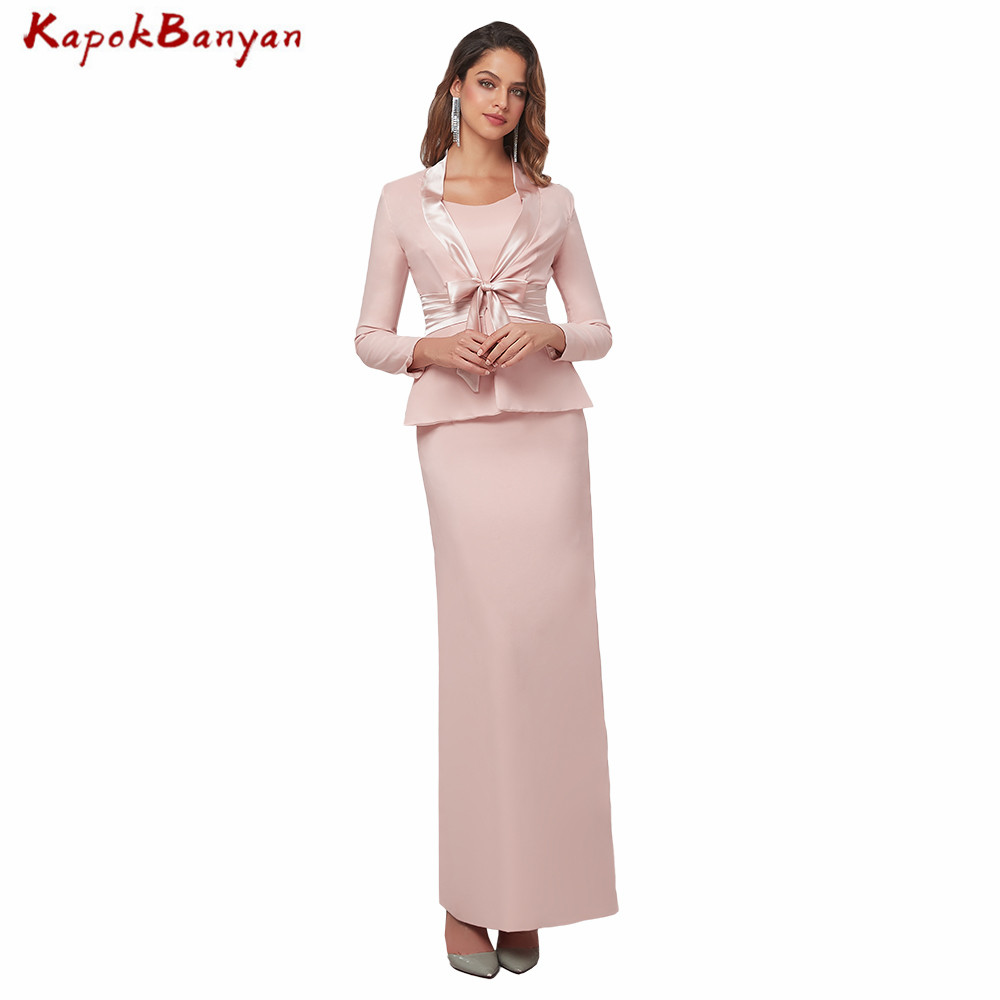 Two Pieces Chiffon Mother Of The Bride Dress With Long Sleeves Jacket Long Mother Outfits Wedding Party Gown