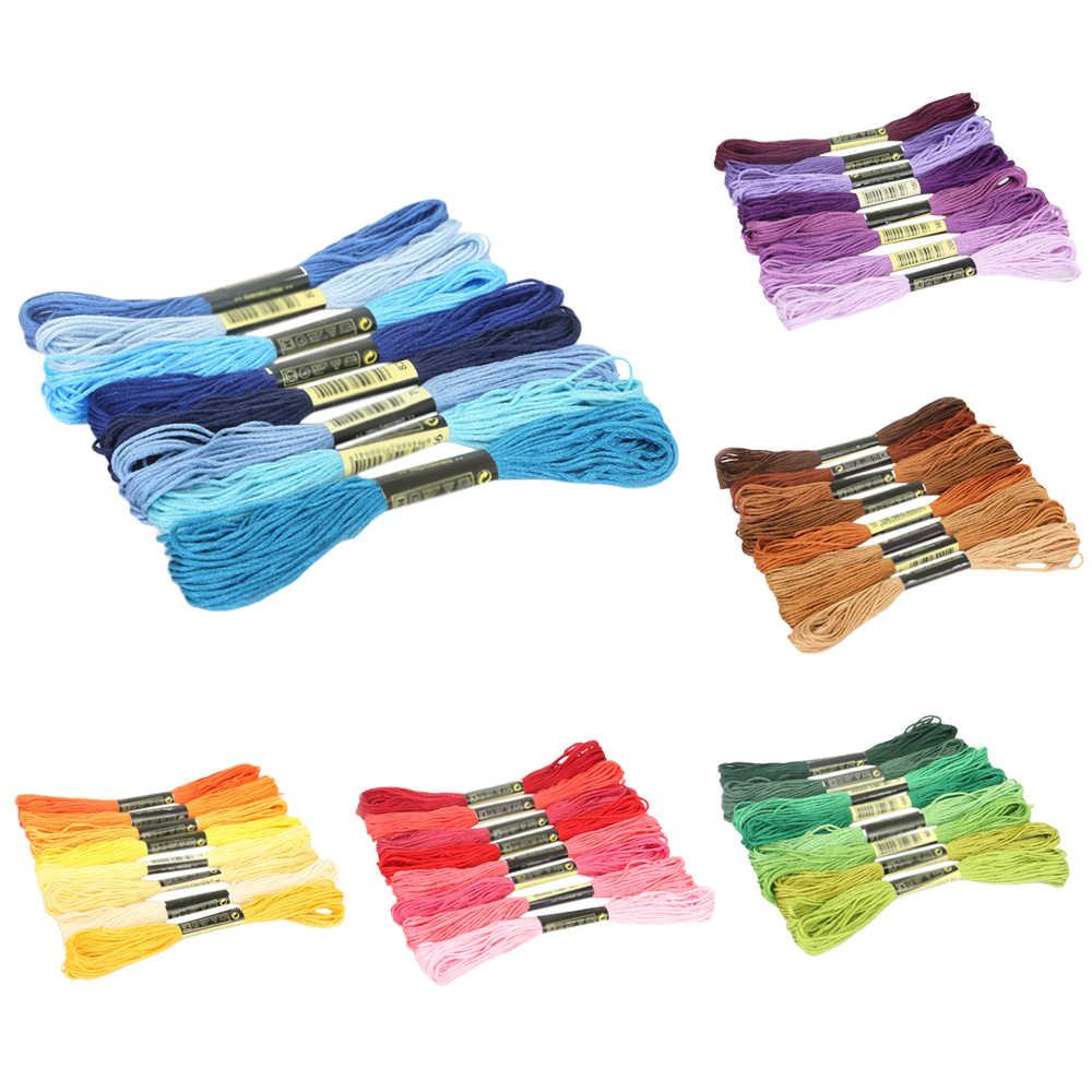 8Pcs Multicolor Vergelijkbare Dmc Diy Draad Kruissteek Katoen Naaien Strengen Borduurgaren Floss Kit Naaien Gereedschap