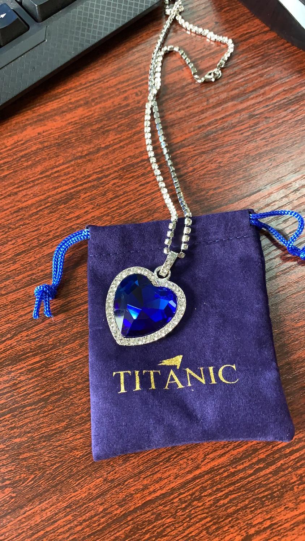 Titanic Heart of Ocean blue heart love forever pendant Necklace velvet bag