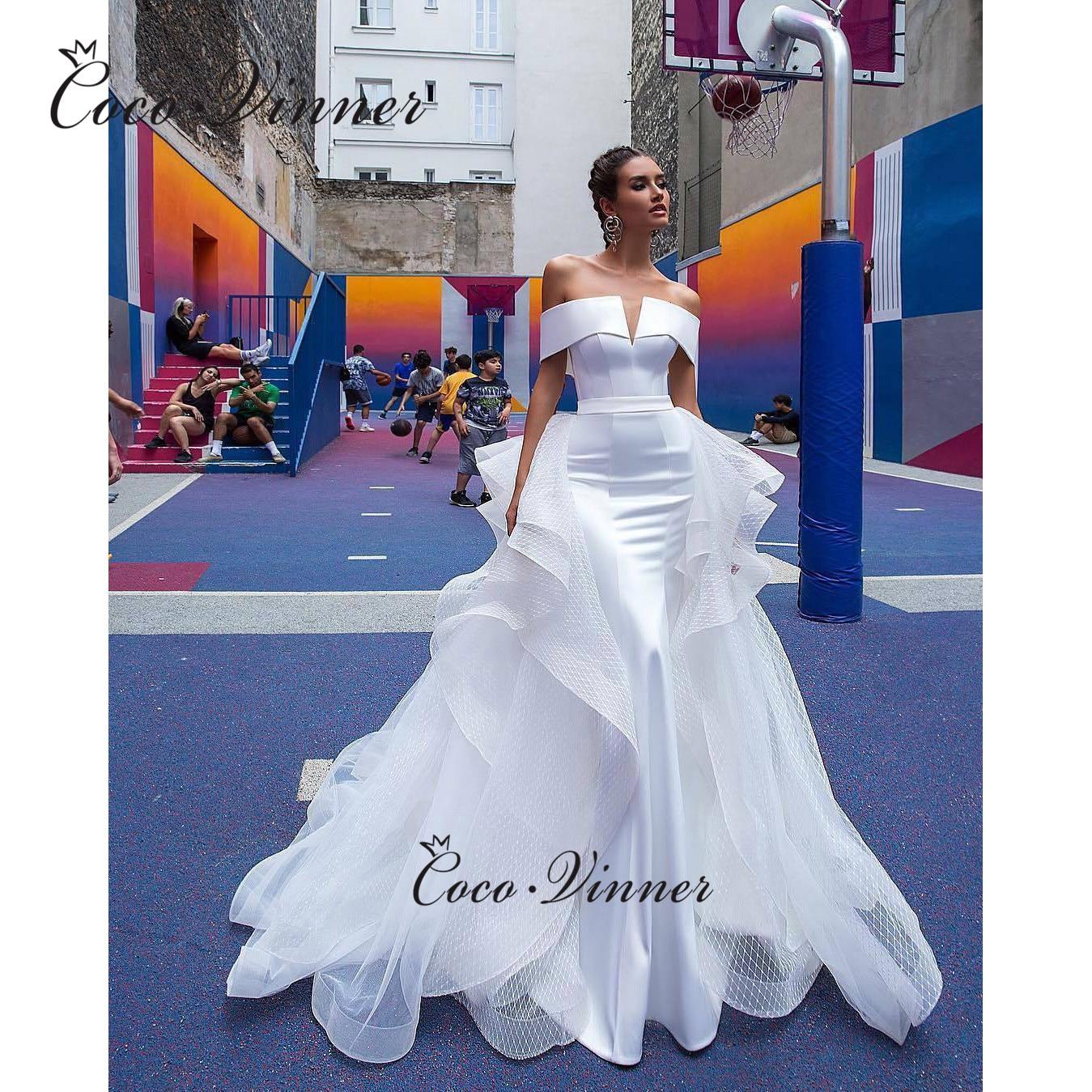 Special V-neck Organza Mermaid Wedding Dresses Lustrous Satin Sashes Elegant Pure White свадебное короткое платье W0522