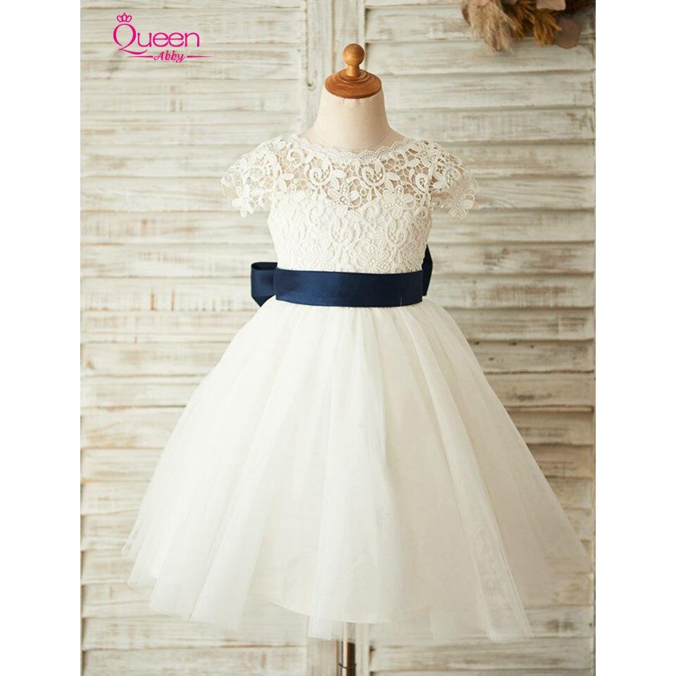 Robe de bal nouvelle fleur fille robe 2019 belle dentelle Tulle fille robe pour la fête de mariage grand nœud robe dos nu