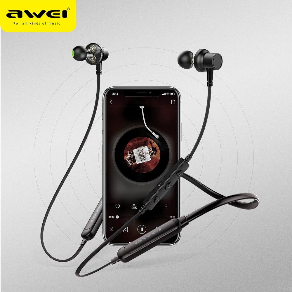 Беспроводные Спортивные Наушники AWEI G20BLS, 3D стерео наушники с двойным динамическим драйвером, Bluetooth наушники с шейным ободом, магнитные наушники