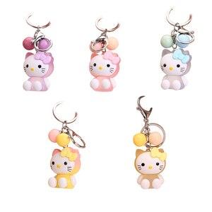 Милый яркий цветной светильник, брелок для ключей Hello Kitty, женская сумка для девочек, автомобильные брелки, лучший подарок для друзей, оптова...