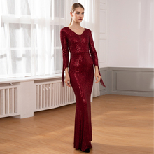 Elegant Burgundy Sequined Mesh Tassel Maxi Dress V Neck Hollow Out Long Dress Night Party Dress