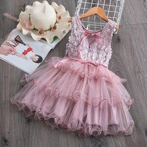 Обувь для девочек из сетчатой ткани с цветочным узором, платье принцессы для девочек; Летняя одежда без рукавов; Детские многослойная Пышная юбка многослойное платье для свадьбы и дня рождения вечерние бальное платье, для маленьких детей, детская одежда