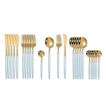24pcs Cutlery Stainless Steel Tableware Kitchen Cutleri Fork Gold Utensils Dinnerware Set Black Knife Knives Spoon Dinner Travel - China, Blue Gold
