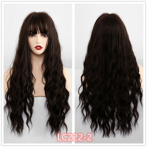 Image 3 - EASIHAIR Long Wave Blue Synthetic Wigs With Bangs Cosplay Wigs for Black White Women 8 Colors Heat Resistant Fake Hair
