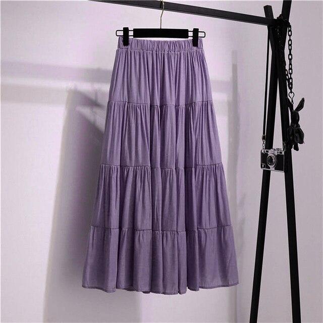 SURMIITRO Korean Style Long Skirt Women For Spring Summer 2021 Blue White Black High Waist Sun School Midi Pleated Skirt Female 5