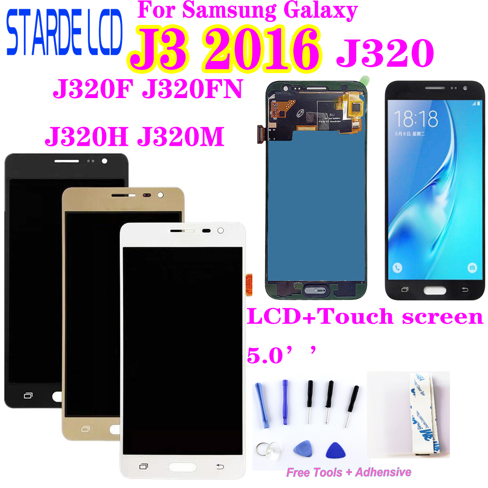 Amoled LCD SM-J320FN/F/M/H/DS For Samsung Galaxy J3 2016 J320 LCD Display + Touch Screen J320F J320FN J320H J320M J3 LCD
