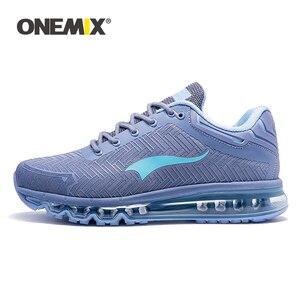 Image 1 - ONEMIX кожаные беговые кроссовки для мужчин, тренды, атлетические кроссовки для прогулок на открытом воздухе, кроссовки на воздушной подушке, спортивные беговые треккинговые кроссовки