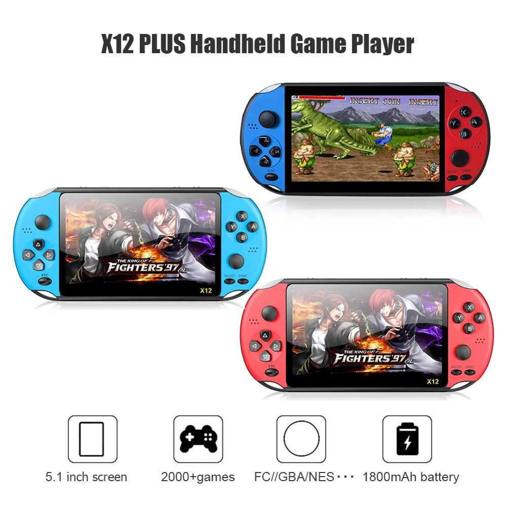 Dropshipping New X12 PLUS 5.1 inch Handheld Video Game Console 8GB Built-in 2000 Games Portable Palm Color Screen Game Player