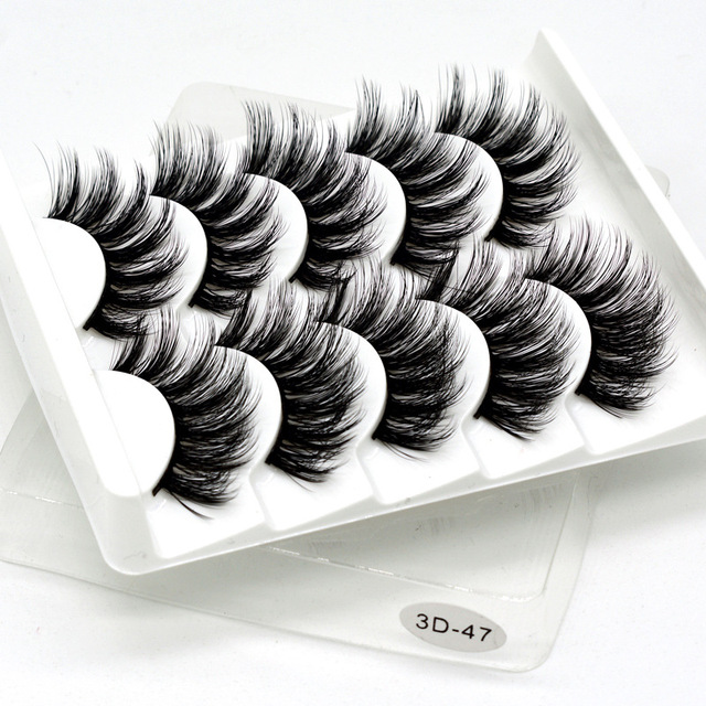 5 pairs 3D Mink Eyelashes Natural False Eyelashes Lashes Soft Fake Eyelashes Extension Makeup Tools Wholesale 3