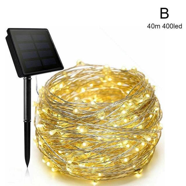 400//50 LED Solar Fairy String Light Copper Wire Outdoor Waterproof Garden Decor