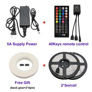 Image 2 - Bande lumineuse RGB 5050 + prise adaptateur, ruban déclairage Flexible 10m, 30 diodes, 12V, 40 touches, contrôleur musical