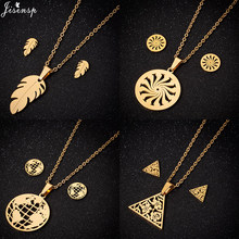 Jisensp Bohemian Style Autumn Leaf Stainless Steel Jewelry Sets Pendant Necklace Earrings for Women Girls Party Gift bijoux(China)