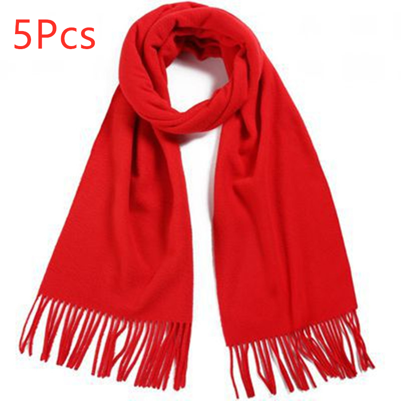 5pcs Fleece Scarf Women Ladies Winter Warm Soft Shawls Red Color Tassel Long Scarves And Wrap