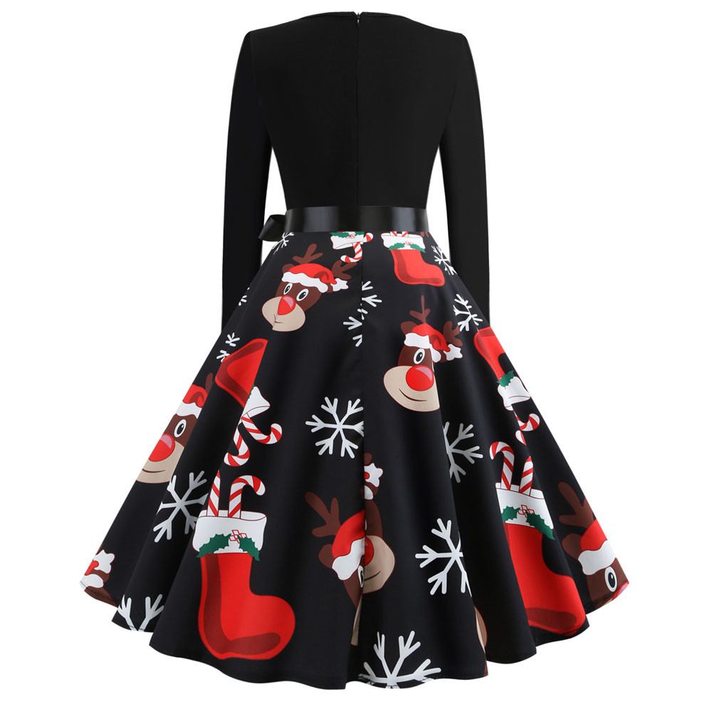 Hfff2917f0efb4eb6a6223028a5dbc466W Winter Christmas Dresses Women Elk and snowflakes Vintage Pinup Elegant Party Dress Long Sleeve Casual Plus Size Print Black
